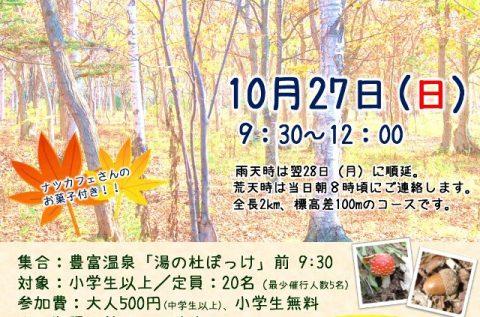 【案内】10/27(日)秋の豊富町自然公園で紅葉ハイキング!!(豊富温泉活性化事業/元気な湯治体験プログラム)