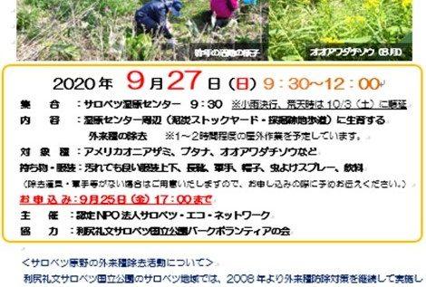 【参加者募集】9/27(日)外来種除去イベントを開催いたします。